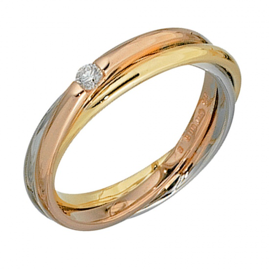Damen Ring verschlungen 585 Gold tricolor dreifarbig 1 Diamant Brillant 0,06ct.