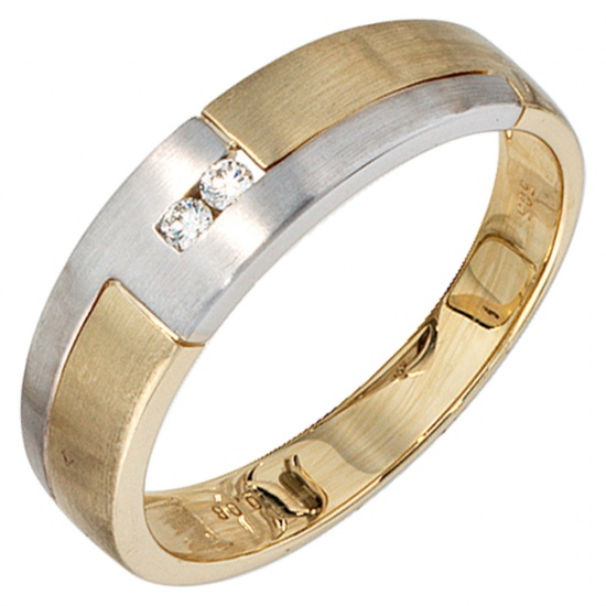 Herren Ring 585 Gold Gelbgold Weißgold mattiert 2 Diamanten Brillanten Goldring