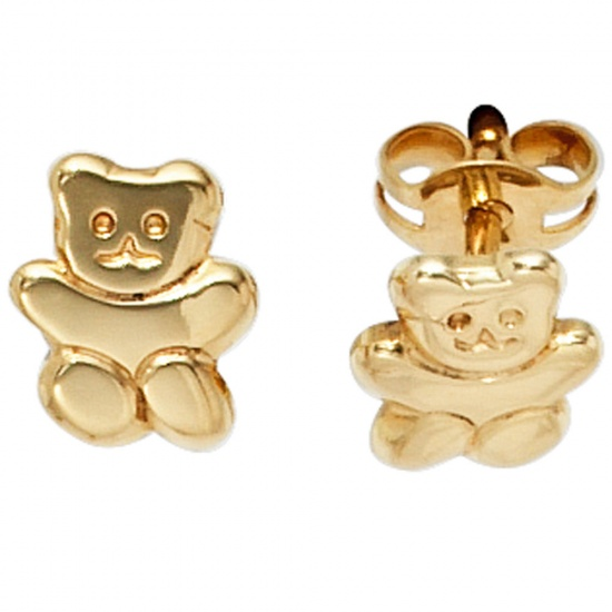 Kinder Ohrstecker Teddy 333 Gold Gelbgold Ohrringe Kinderohrringe