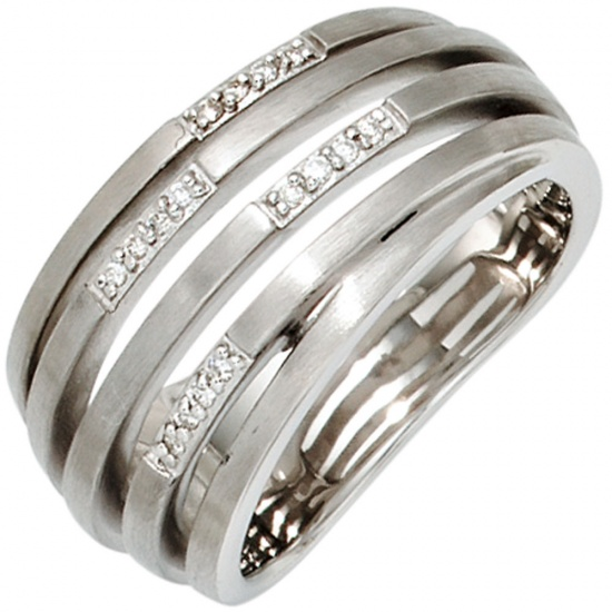 Damen Ring breit 925 Sterling Silber rhodiniert matt 16 Diamanten Brillanten