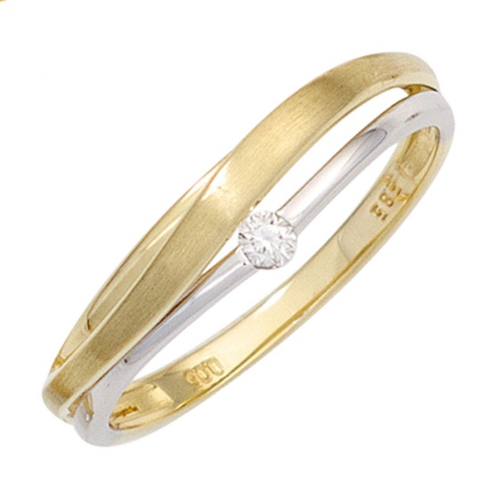 Damen Ring 585 Gold Gelbgold Weißgold bicolor matt 1 Diamant Brillant Goldring