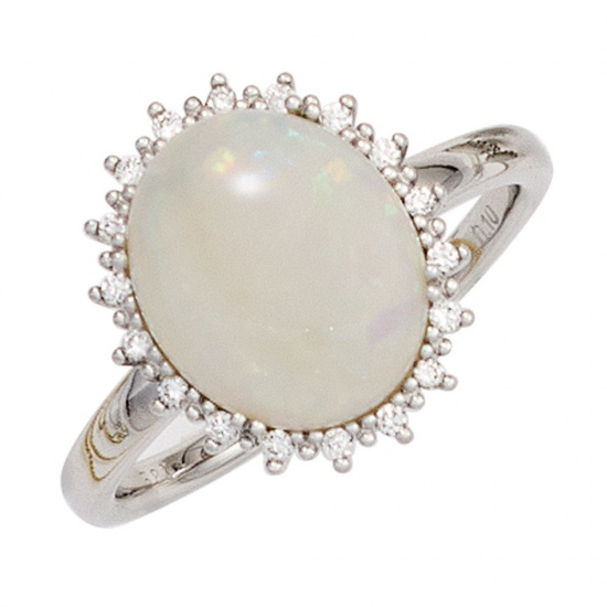 Damen Ring 585 Gold Weißgold 1 Opal-Cabochon 18 Diamanten Brillanten Opalring