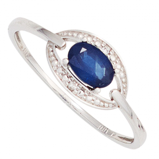 Damen Ring 585 Gold Weißgold 1 Safir blau 2 Diamanten Brillanten Goldring