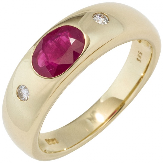 Damen Ring 585 Gold Gelbgold 1 Rubin rot 2 Diamanten Brillanten Goldring