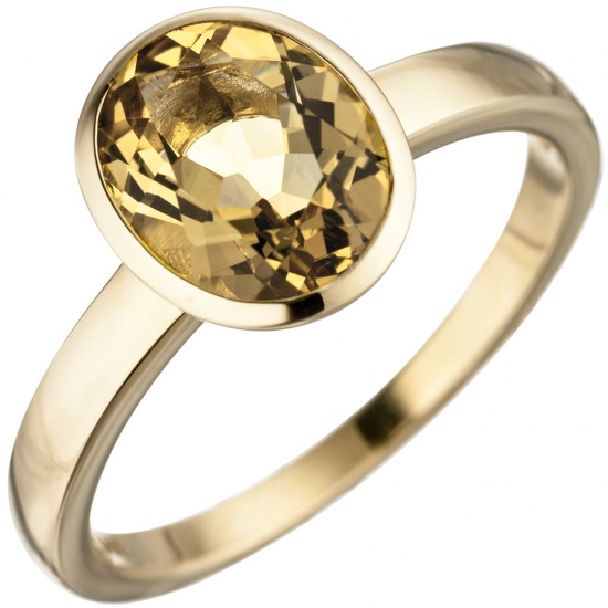 Damen Ring 585 Gold Gelbgold 1 Citrin gelb Goldring Citrinring