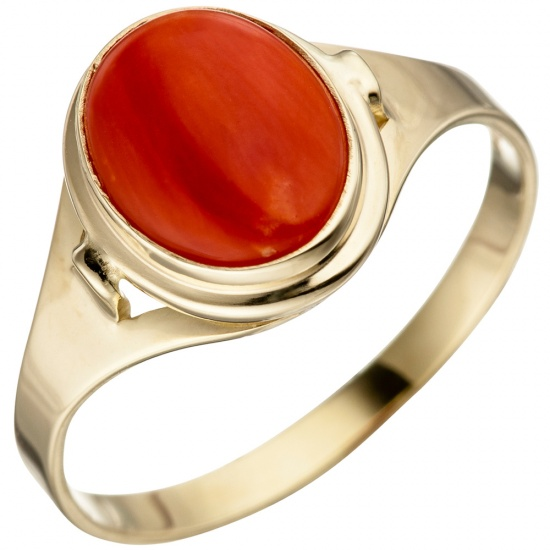 Damen Ring 333 Gold Gelbgold 1 Koralle rot Goldring