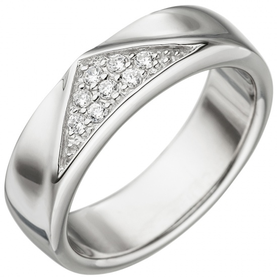 Damen Ring 925 Sterling Silber 8 Zirkonia Silberring