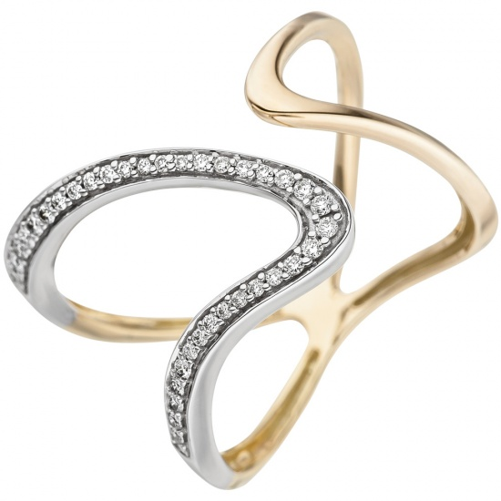 Damen Ring 2-reihig 585 Gold Gelbgold 36 Diamanten Brillanten Diamantring