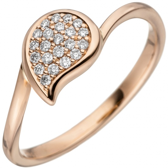 Damen Ring 585 Gold Rotgold 22 Diamanten Brillanten Diamantring Rotgoldring