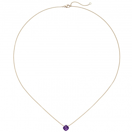 Collier 750 Gold Rotgold 1 Amethyst lila violett 45 cm