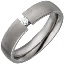 Partner Ring aus Titan 1 Diamant Brillant 0,05ct. Partnerring Titanring matt